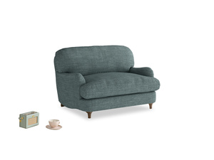 Jonesy Love seat in Anchor Grey Clever Laundered Linen
