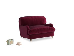Jonesy Love seat in Merlot Plush Velvet