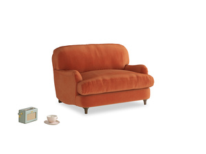 Jonesy Love seat in Old Orange Clever Deep Velvet