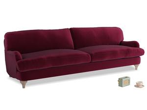 Extra large Jonesy Sofa in Merlot Plush Velvet