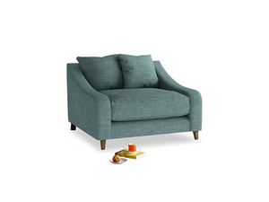 Oscar Love seat in Blue Turtle Clever Laundered Linen