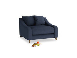 Oscar Love seat in Night Owl Blue Clever Woolly Fabric