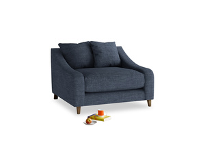 Oscar Love seat in Selvedge Blue Clever Laundered Linen