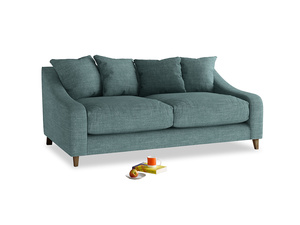 Medium Oscar Sofa in Blue Turtle Clever Laundered Linen