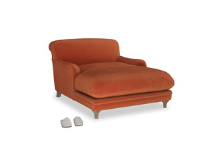 Pudding Love seat chaise in Old Orange Clever Deep Velvet