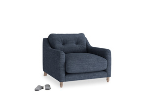 Slim Jim Armchair in Selvedge Blue Laundered Linen