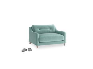 Slim Jim Love seat in Greeny Blue Clever Deep Velvet