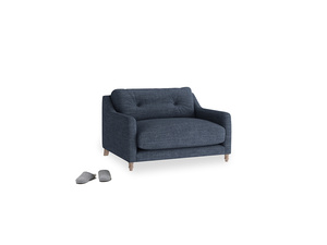 Slim Jim Love seat in Selvedge Blue Clever Laundered Linen