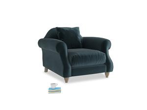 Sloucher Armchair in Bluey Grey Clever Deep Velvet