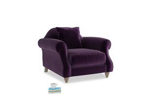 Sloucher Armchair in Deep Purple Clever Deep Velvet
