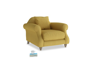 Sloucher Armchair in Easy Yellow Clever Woolly Fabric