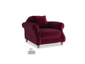 Sloucher Armchair in Merlot Plush Velvet