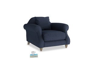 Sloucher Armchair in Night Owl Blue Clever Woolly Fabric
