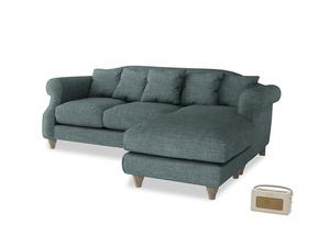 Large right hand Sloucher Chaise Sofa in Anchor Grey Clever Laundered Linen