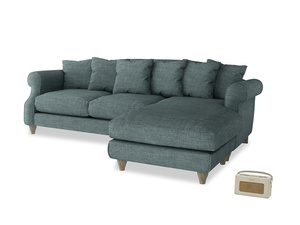 XL Right Hand  Sloucher Chaise Sofa in Anchor Grey Clever Laundered Linen