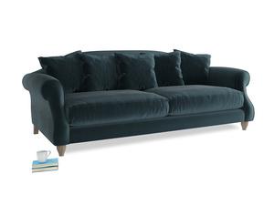 Large Sloucher Sofa in Bluey Grey Clever Deep Velvet