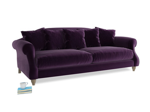 Large Sloucher Sofa in Deep Purple Clever Deep Velvet