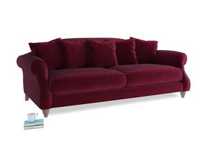 Large Sloucher Sofa in Merlot Plush Velvet