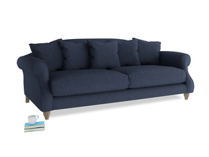 Large Sloucher Sofa in Night Owl Blue Clever Woolly Fabric