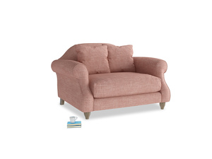 Sloucher Love seat in Blossom Clever Laundered Linen
