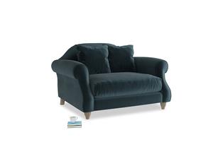 Sloucher Love seat in Bluey Grey Clever Deep Velvet