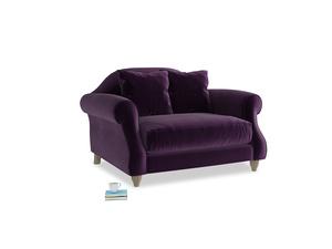 Sloucher Love seat in Deep Purple Clever Deep Velvet