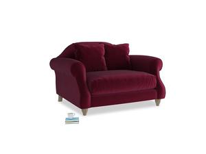 Sloucher Love seat in Merlot Plush Velvet