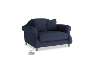 Sloucher Love seat in Night Owl Blue Clever Woolly Fabric