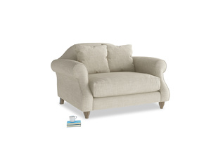 Sloucher Love seat in Shell Clever Laundered Linen