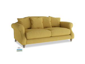 Medium Sloucher Sofa in Easy Yellow Clever Woolly Fabric