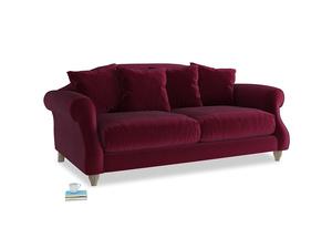 Medium Sloucher Sofa in Merlot Plush Velvet