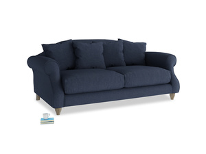 Medium Sloucher Sofa in Night Owl Blue Clever Woolly Fabric