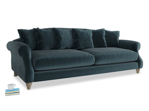 Extra large Sloucher Sofa in Bluey Grey Clever Deep Velvet