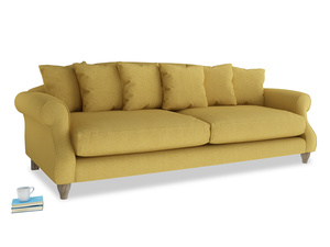 Extra large Sloucher Sofa in Easy Yellow Clever Woolly Fabric