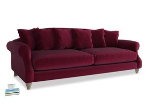 Extra large Sloucher Sofa in Merlot Plush Velvet