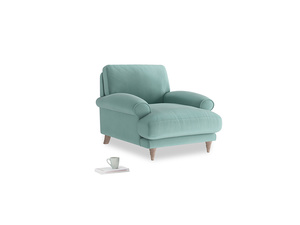Slowcoach Armchair in Greeny Blue Clever Deep Velvet