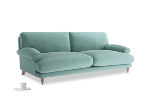 Large Slowcoach Sofa in Greeny Blue Clever Deep Velvet