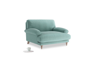 Slowcoach Love seat in Greeny Blue Clever Deep Velvet
