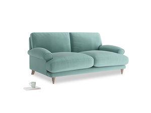 Medium Slowcoach Sofa in Greeny Blue Clever Deep Velvet