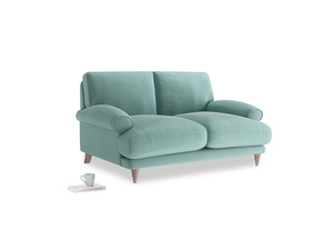Small Slowcoach Sofa in Greeny Blue Clever Deep Velvet