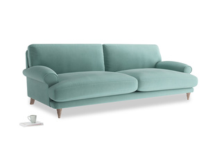 Extra large Slowcoach Sofa in Greeny Blue Clever Deep Velvet