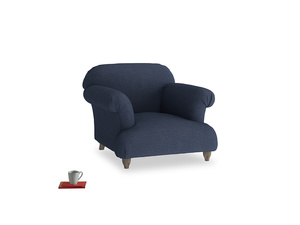 Soufflé Armchair in Night Owl Blue Clever Woolly Fabric