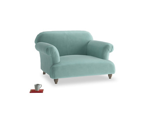 Soufflé Love seat in Greeny Blue Clever Deep Velvet