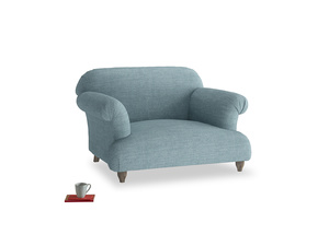 Soufflé Love seat in Soft Blue Clever Laundered Linen