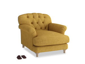 Truffle Armchair in Mellow Yellow Clever Laundered Linen