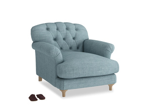 Truffle Armchair in Soft Blue Clever Laundered Linen