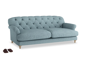 Large Truffle Sofa in Soft Blue Clever Laundered Linen
