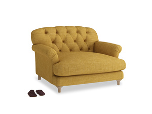 Truffle Love seat in Mellow Yellow Clever Laundered Linen