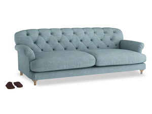 Extra large Truffle Sofa in Soft Blue Clever Laundered Linen