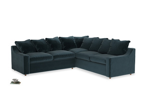 Even Sided Cloud Corner Sofa in Bluey Grey Clever Deep Velvet